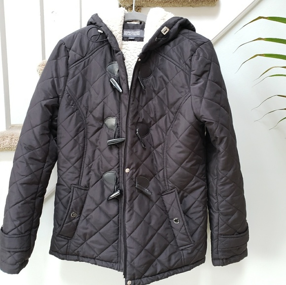 Kennethcole Reaction Quilted Duffle Coat With Hood